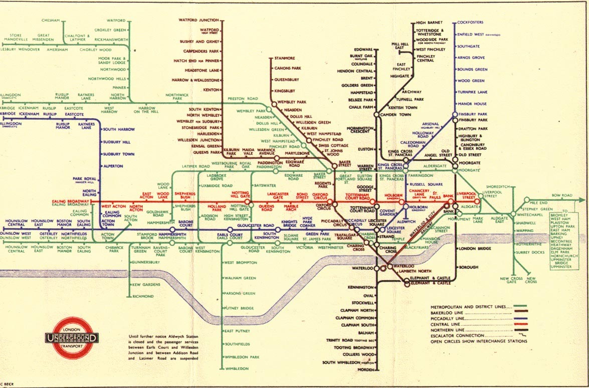 The London Tube Map Archive - London map 1945