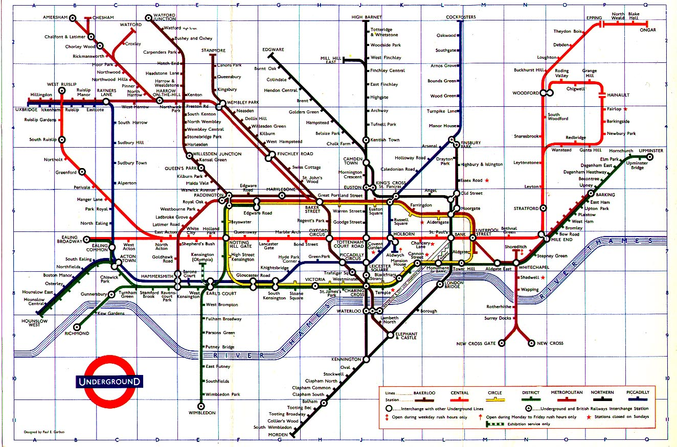London Subway System Map on