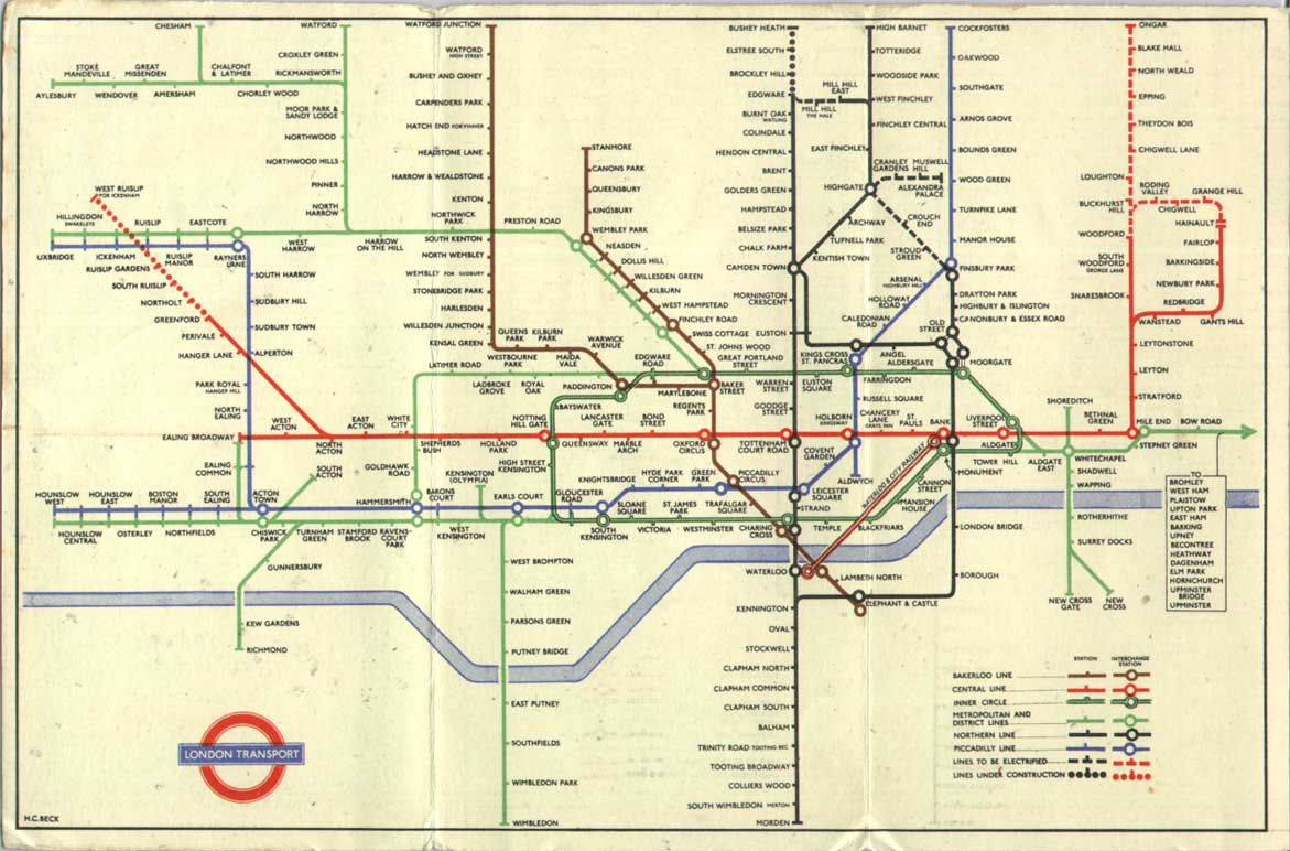 Subway Map Of London.The London Tube Map Archive