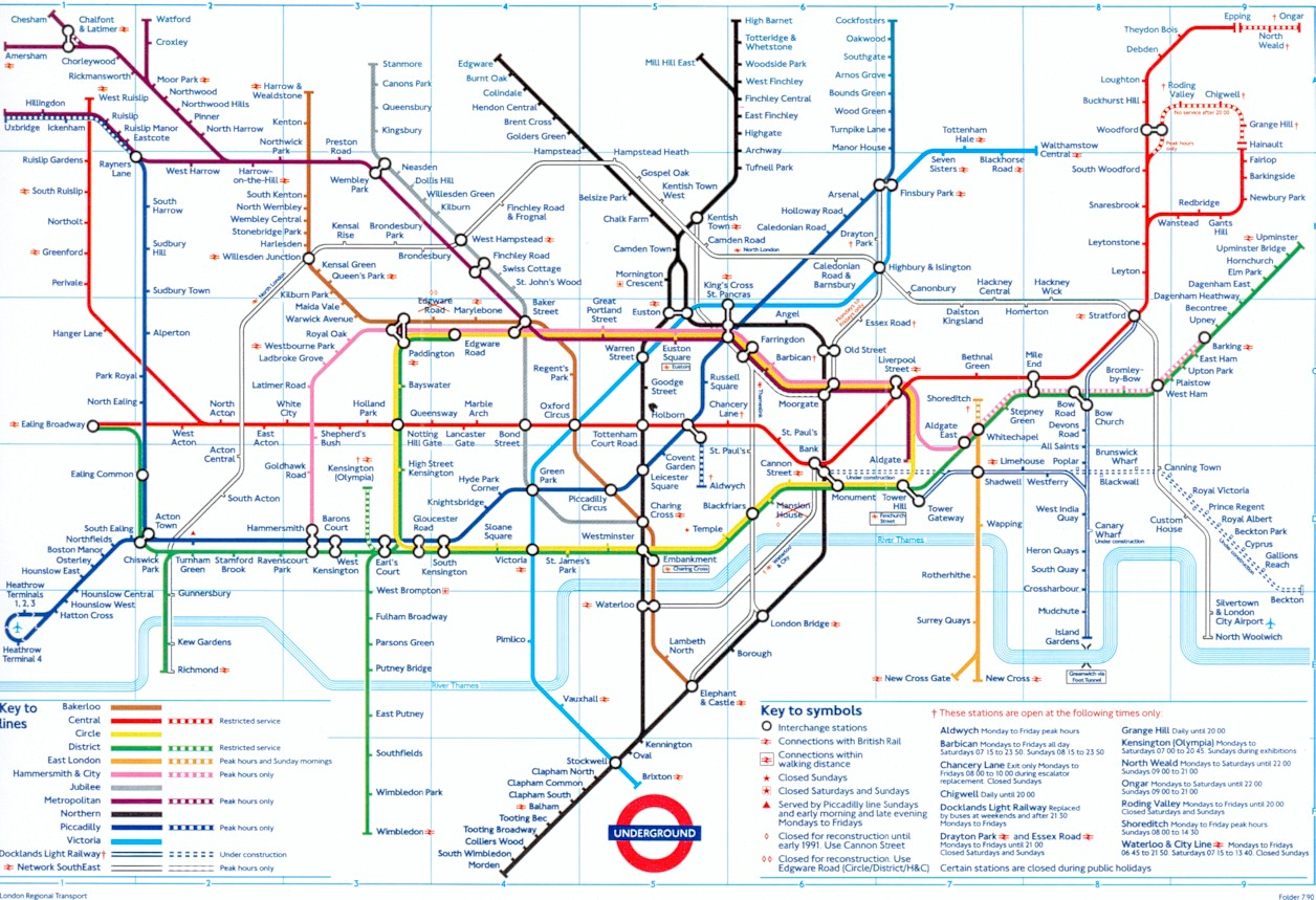 1990 Subway Map.The London Tube Map Archive